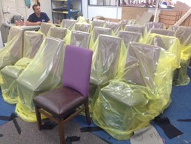 A rcommercial re-upholstery order packed for despatch