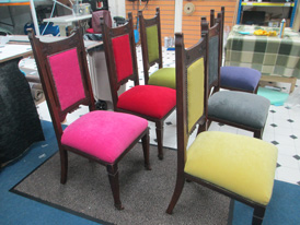 Re-upholstered restaurant chairs