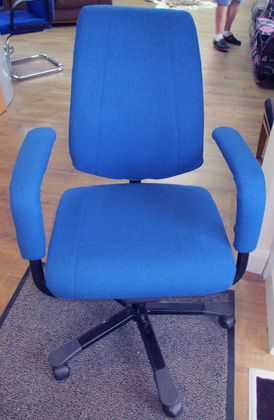 A re-upholstered office chair - like new again!
