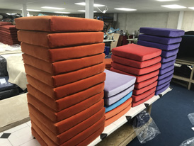 A completed order of new chair cushions