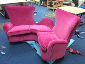 A rare hotel piece recently re-upholstered