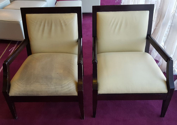 Leather chairs demonstrate the difference between before and after our leather cleaning and re-colouring service