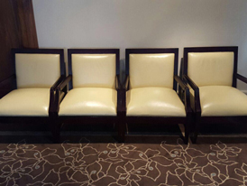 re-upholstered reception chairs