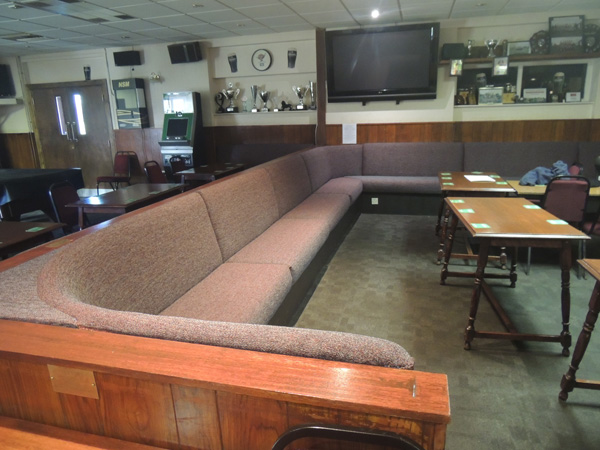 New fixed commercial seating upholstery for a sports clubhouse