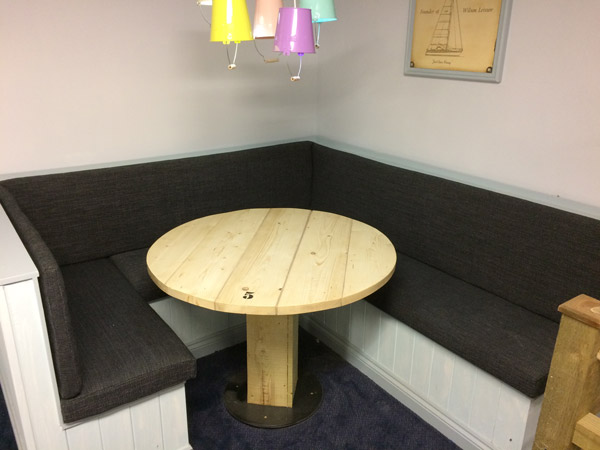 A newly re-upholstered clubhouse corner seating area