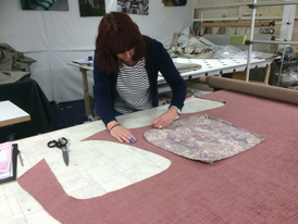 Cutting the fabric for a customer order