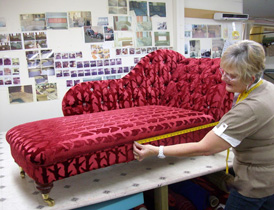 Checking a re-upholstered chaise longue