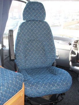 Re-upholstered Motorhome cab seat in a patterened fabric