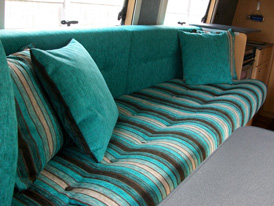Replacement touring caravan seat cushions and upholstery