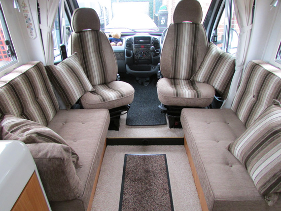 Motorhome Interior With New Seat Cushions And Upholstery