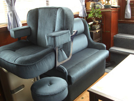 Motor boat seat upholstery and re-upholstery