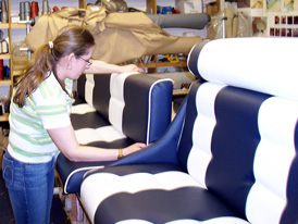 Re-upholstered vinyl speed boat seat cushions