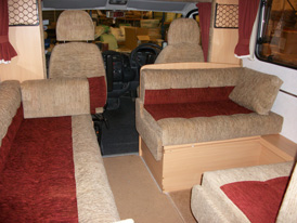 Matching re-upholstered cab seats and seating / dining area