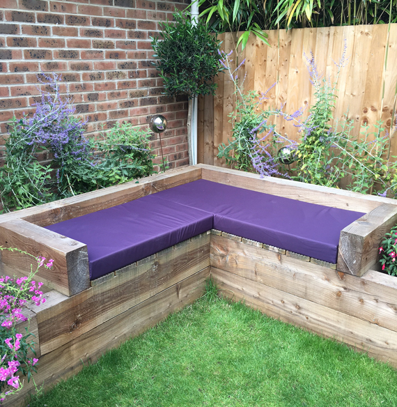 Made-to-measure outdoor cushions for a railway sleeper seating area