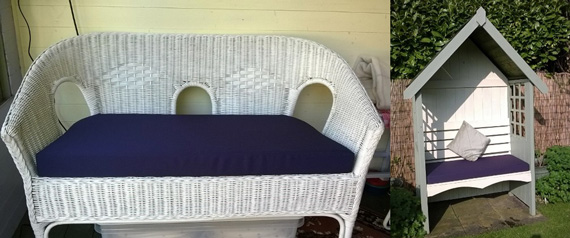 Bespoke outdoor cushion for a garden seating feature