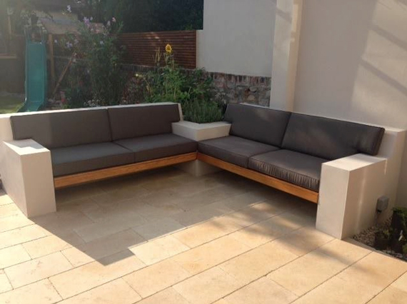 bespoke outdoor cushions for a patio concrete seating arrangement